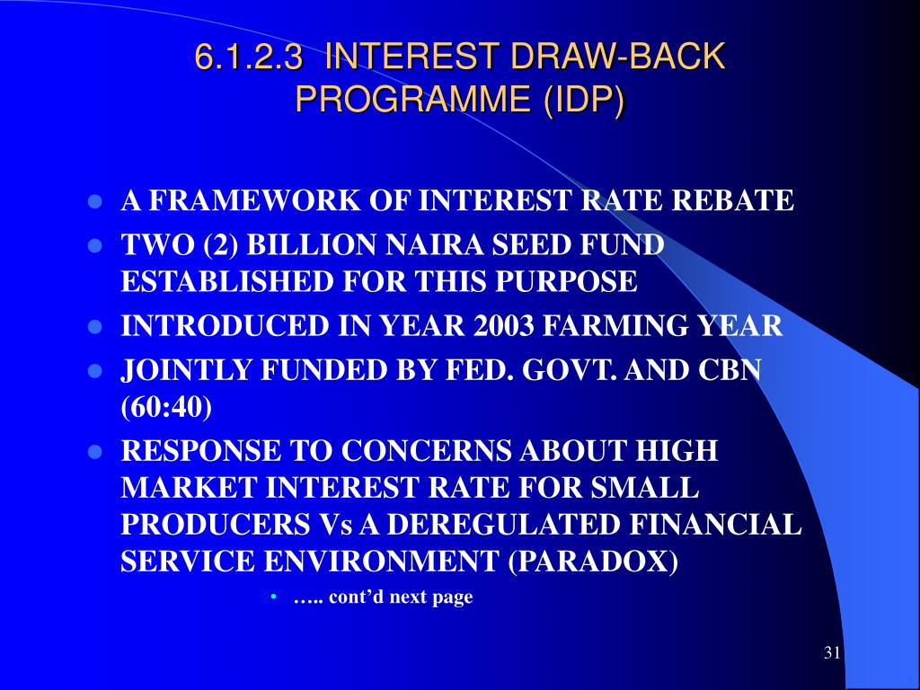 6.1.2.3  INTEREST DRAW-BACK PROGRAMME (IDP)