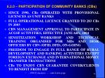 6 2 0 participation of community banks cbs