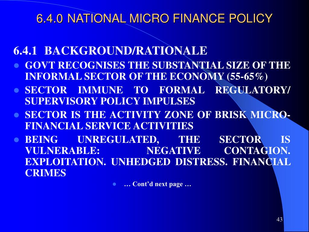 6.4.0NATIONAL MICRO FINANCE POLICY