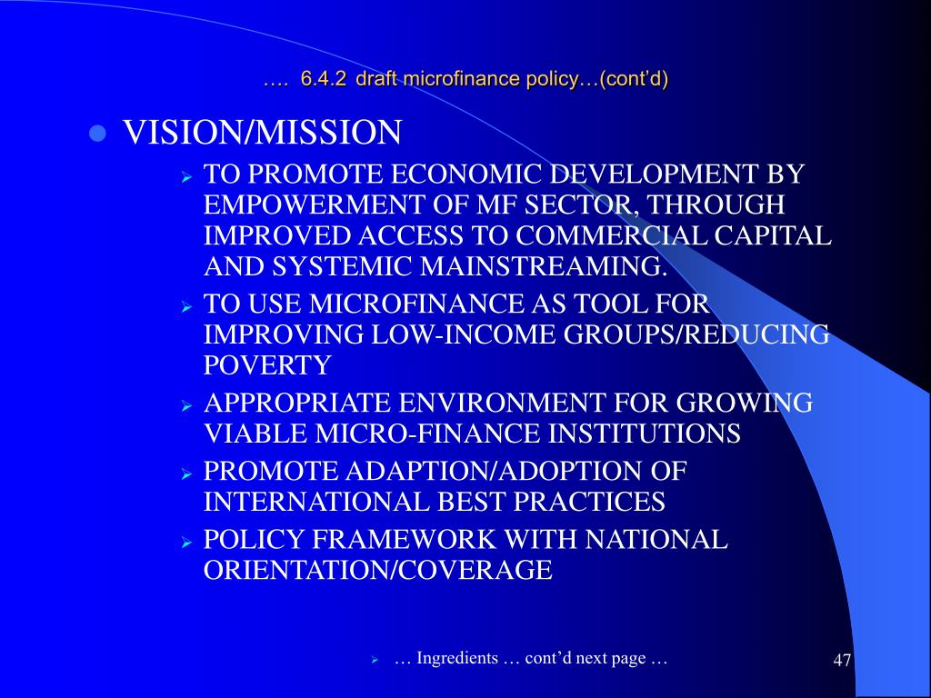 ….  6.4.2draft microfinance policy…(cont'd)