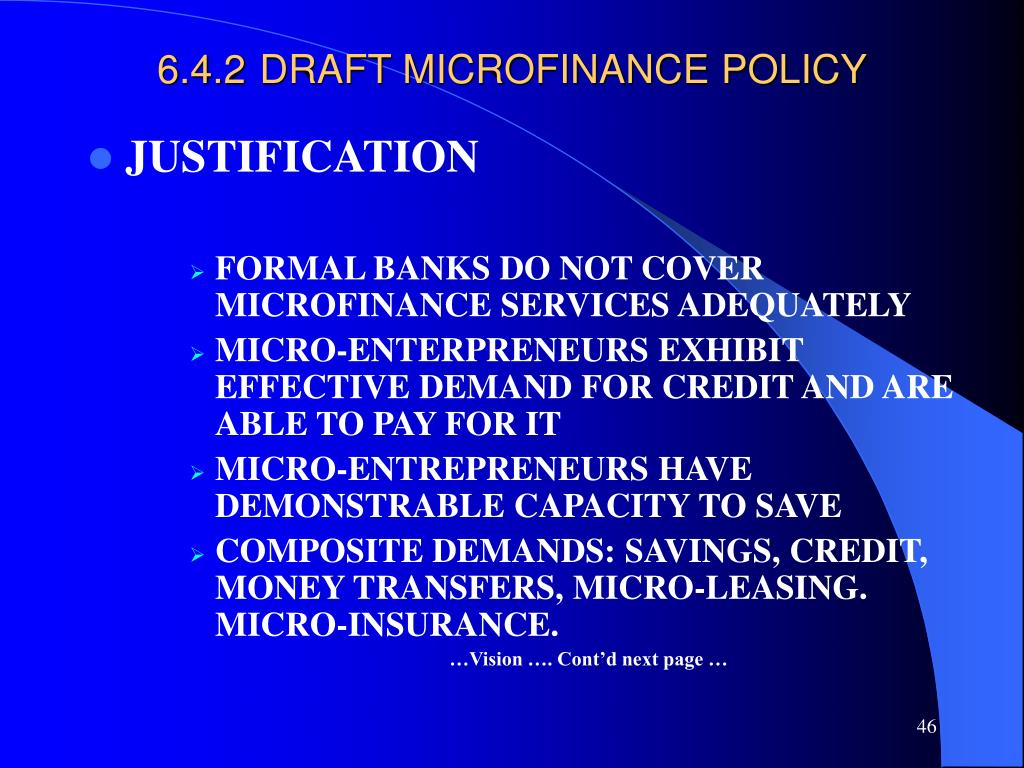 6.4.2DRAFT MICROFINANCE POLICY