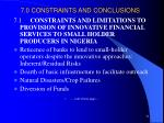 7 0 constraints and conclusions