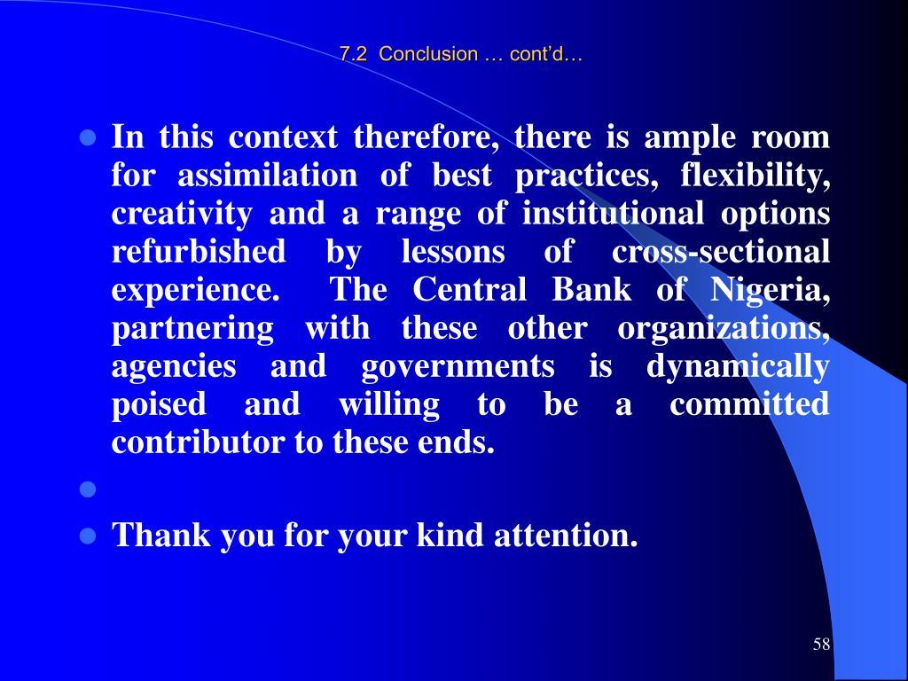 7.2  Conclusion … cont'd…