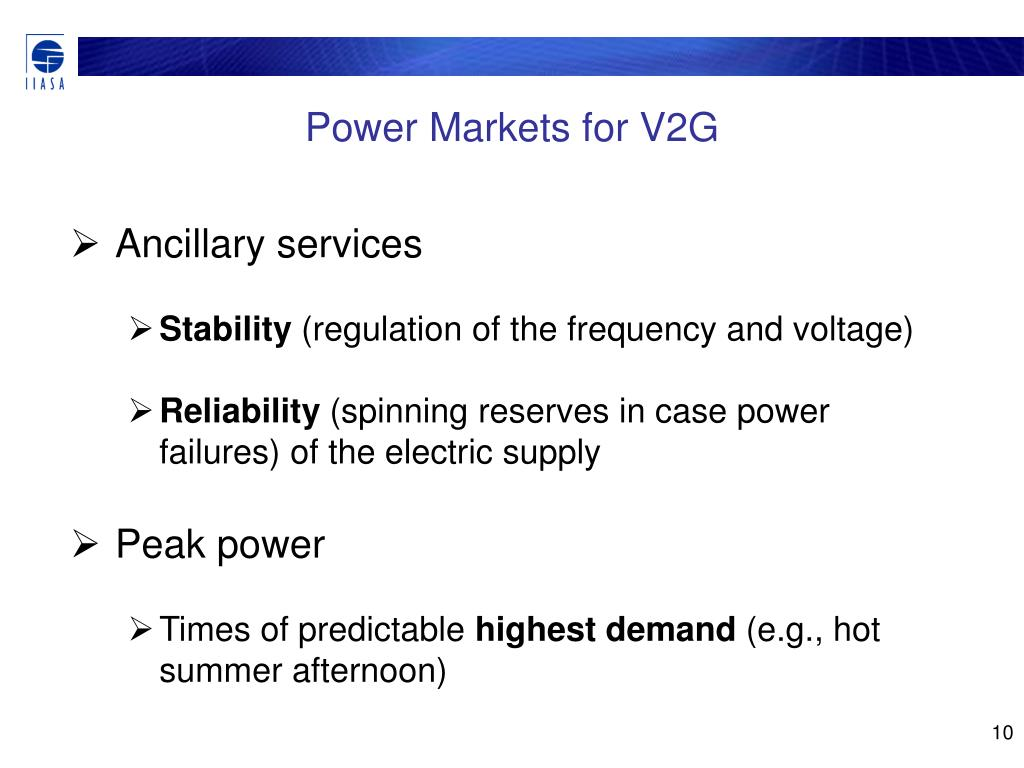Power Markets for V2G