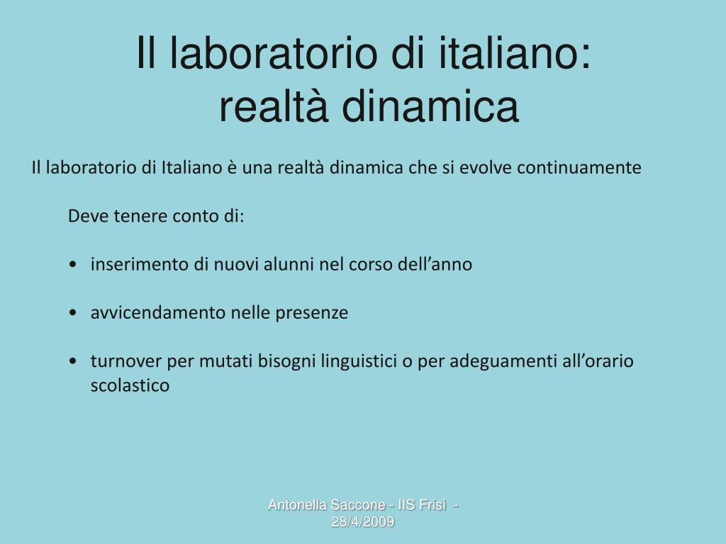 Il laboratorio di italiano:
