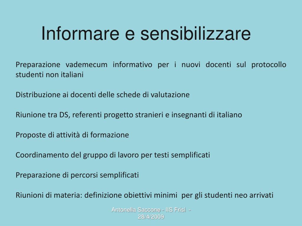 Informare e sensibilizzare