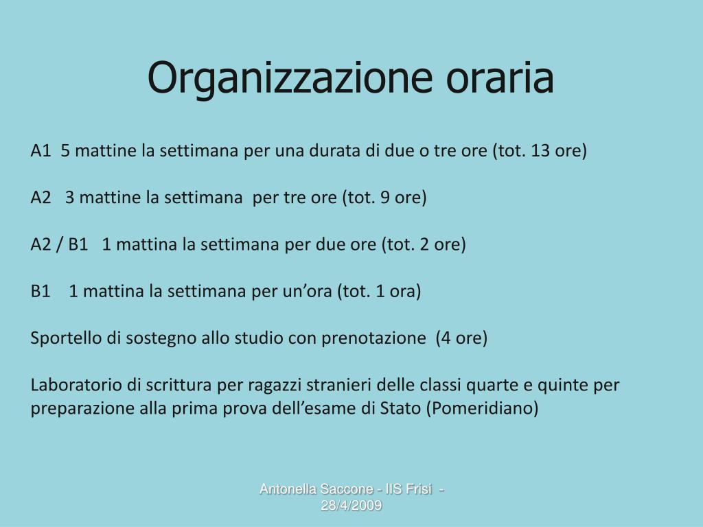 Organizzazione oraria