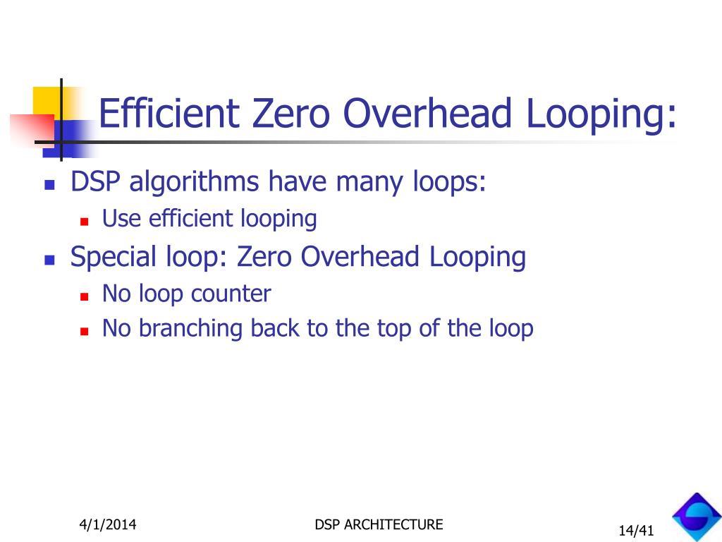 Efficient Zero Overhead Looping: