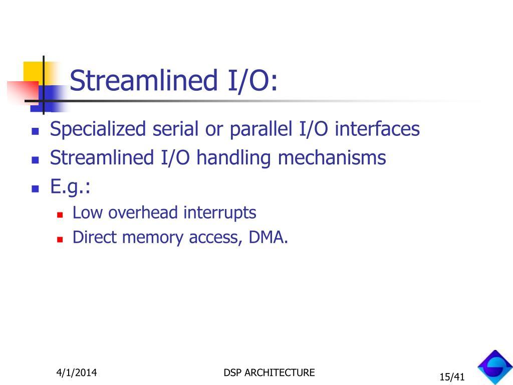 Streamlined I/O: