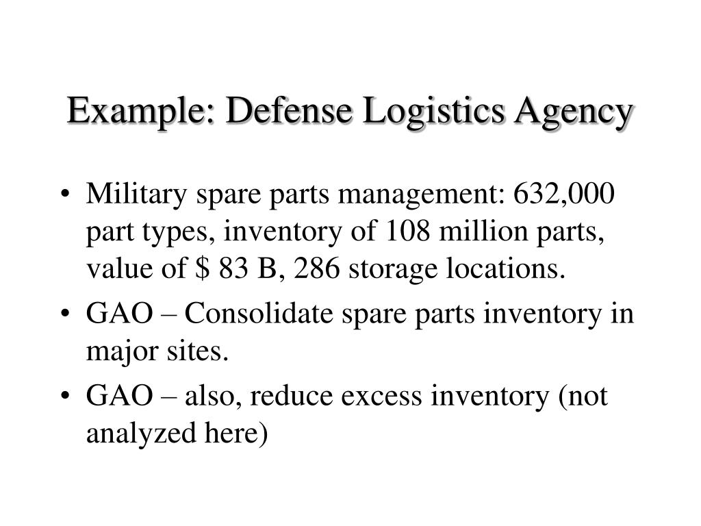 Example: Defense Logistics Agency