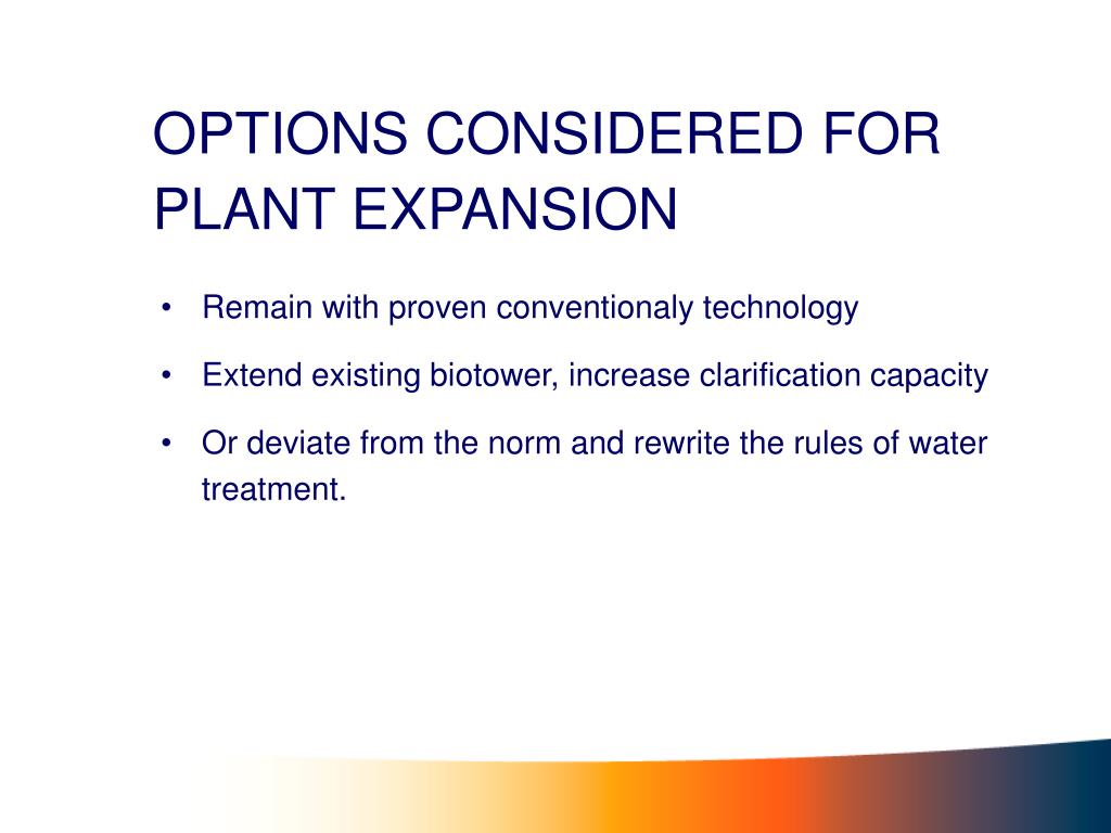 OPTIONS CONSIDERED FOR PLANT EXPANSION