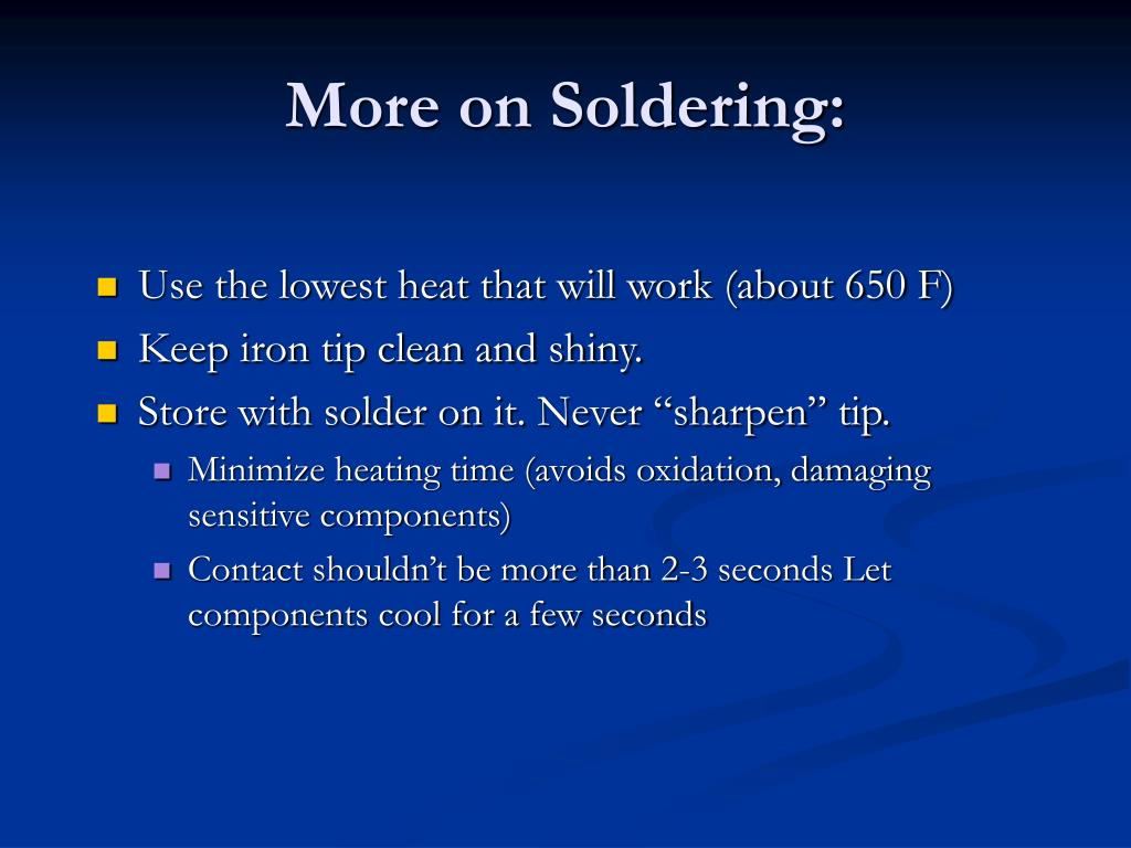 More on Soldering: