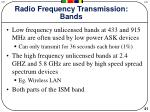 radio frequency transmission bands