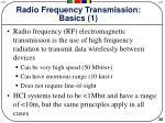 radio frequency transmission basics 1