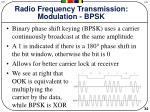 radio frequency transmission modulation bpsk