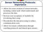 sensor networking protocols importance