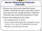 sensor networking protocols overview