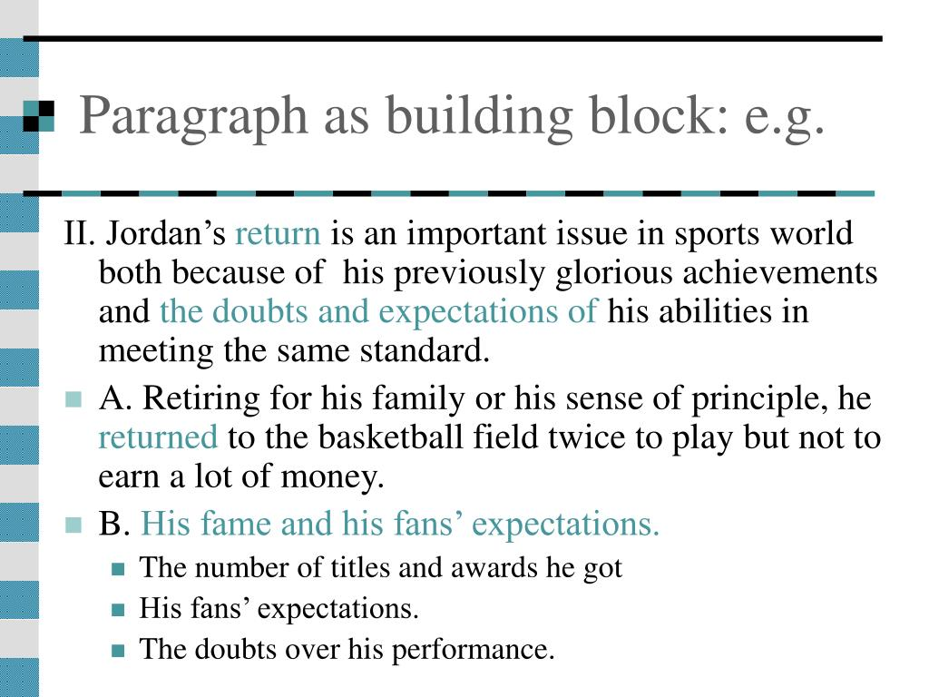 Paragraph as building block: e.g.