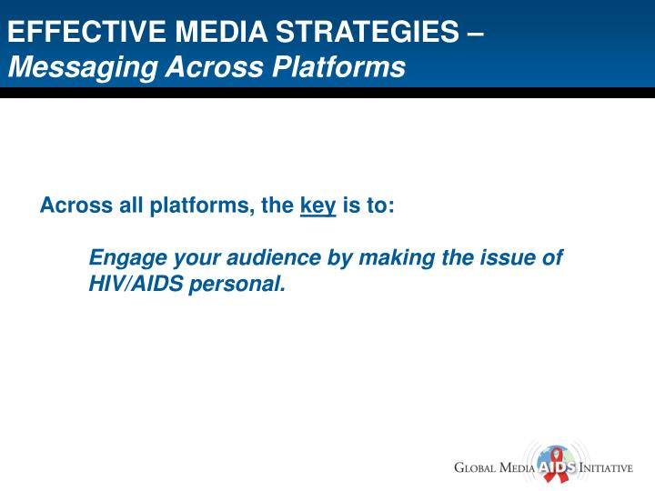 EFFECTIVE MEDIA STRATEGIES –