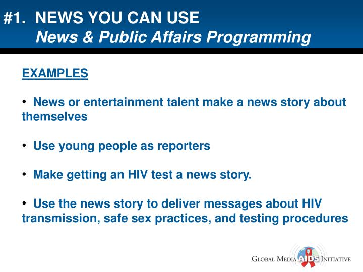 #1.  NEWS YOU CAN USE