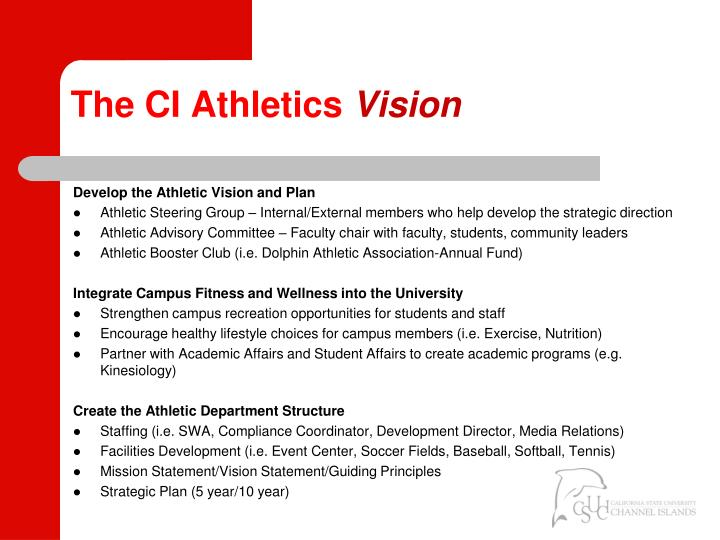 The ci athletics vision