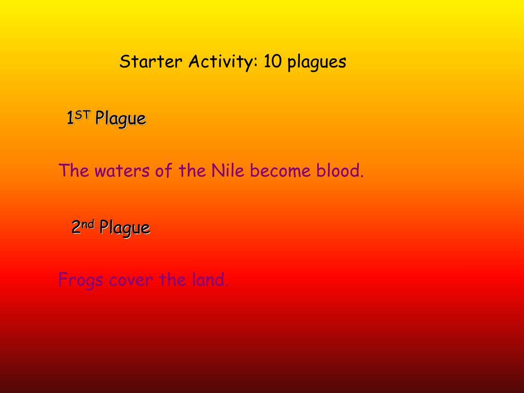 Starter Activity: 10 plagues