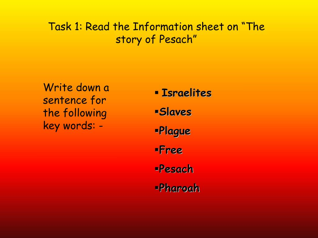 "Task 1: Read the Information sheet on ""The story of Pesach"""