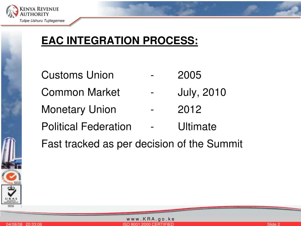 EAC INTEGRATION PROCESS: