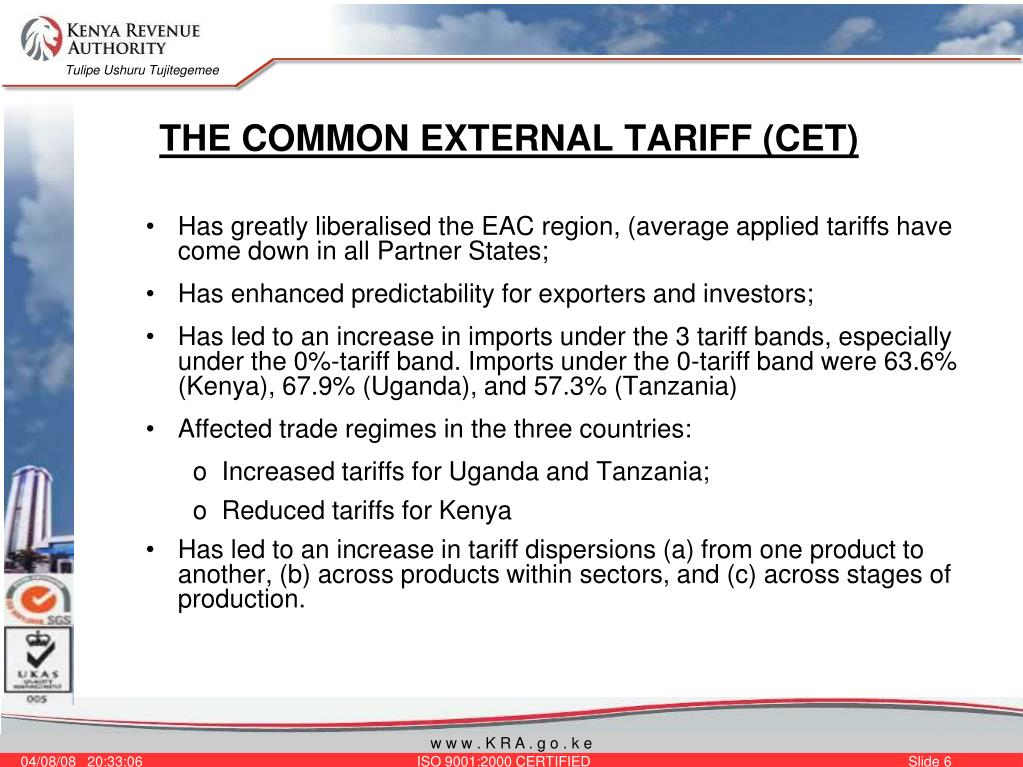 THE COMMON EXTERNAL TARIFF (CET)