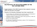 the protocol on the establishment of the eac customs union