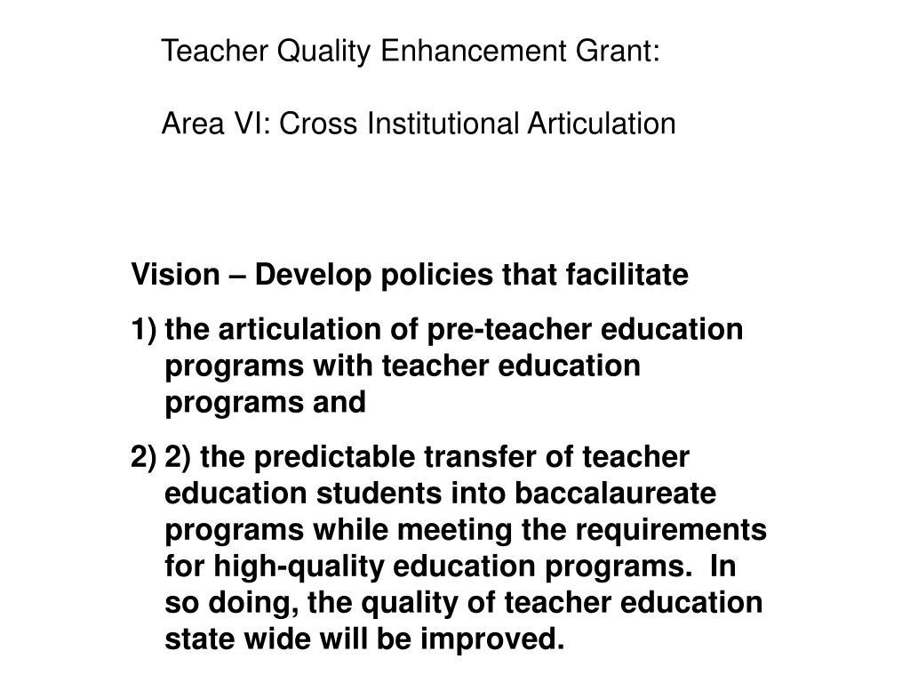 Teacher Quality Enhancement Grant: