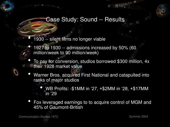 Case Study: Sound -- Results