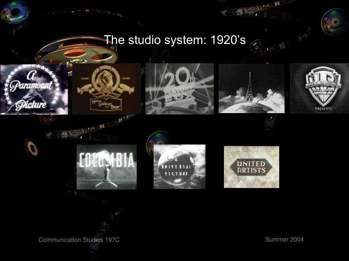 The studio system: 1920's