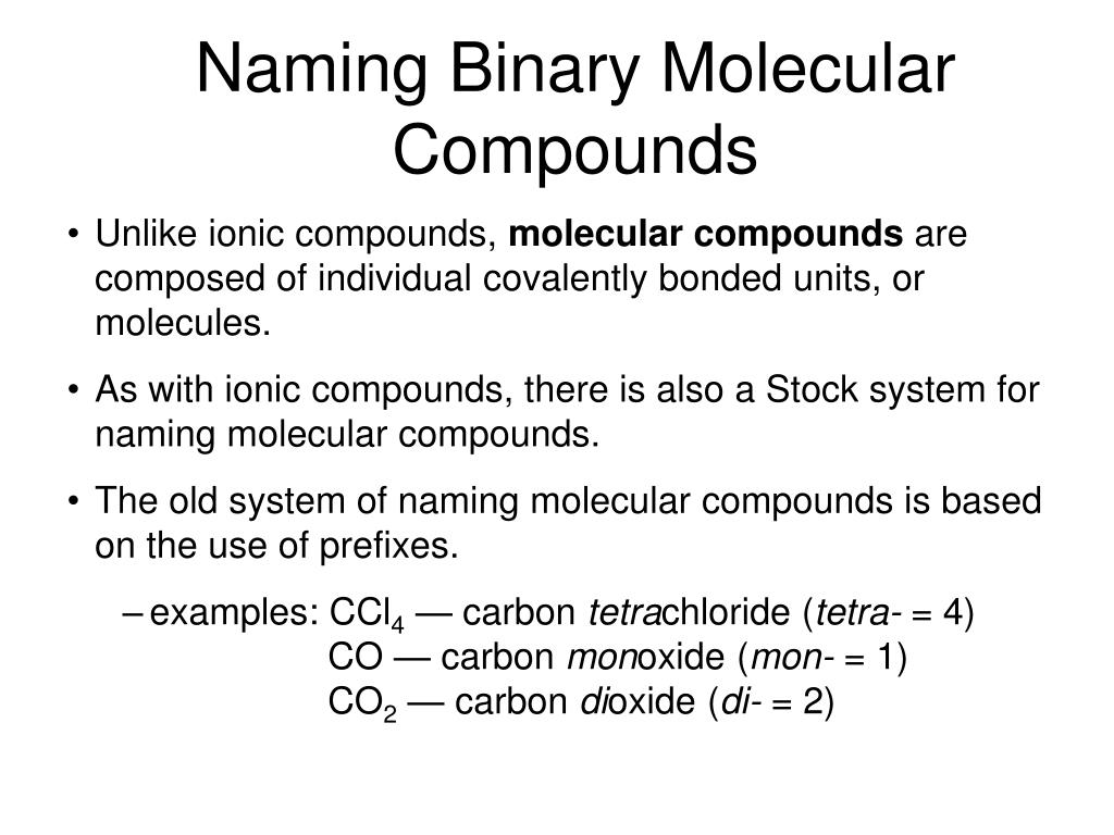 Ppt chapter 7 chemical formulas and chemical compounds naming binary molecular compounds polyatomic ions robcynllc Images