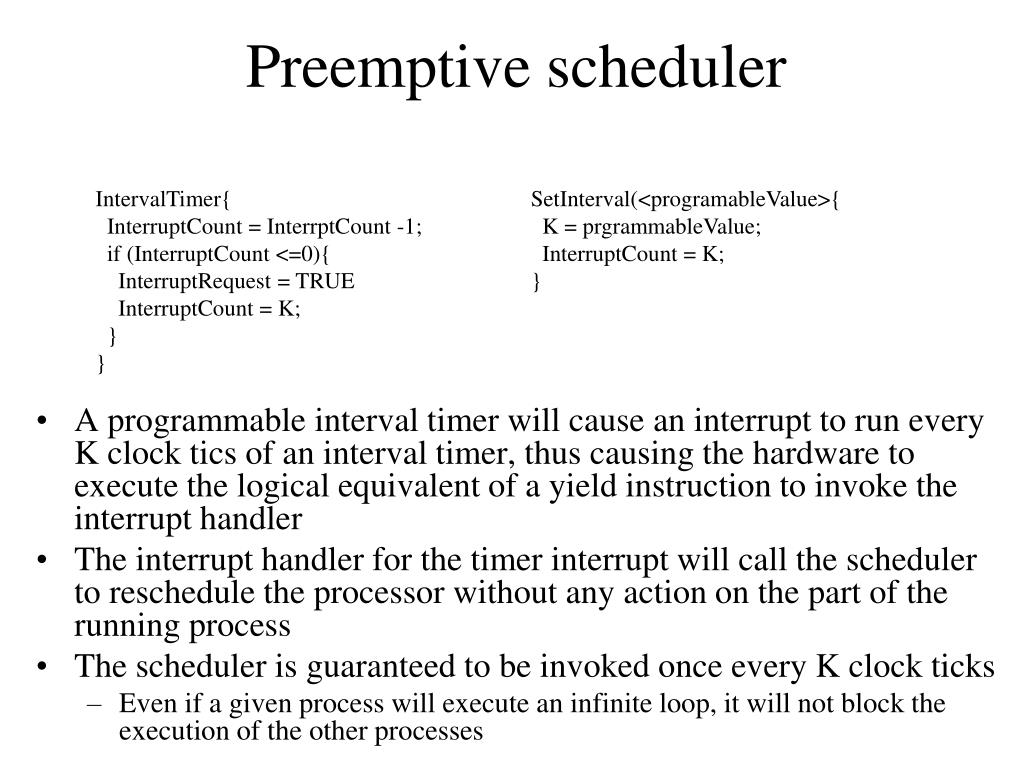 Preemptive scheduler