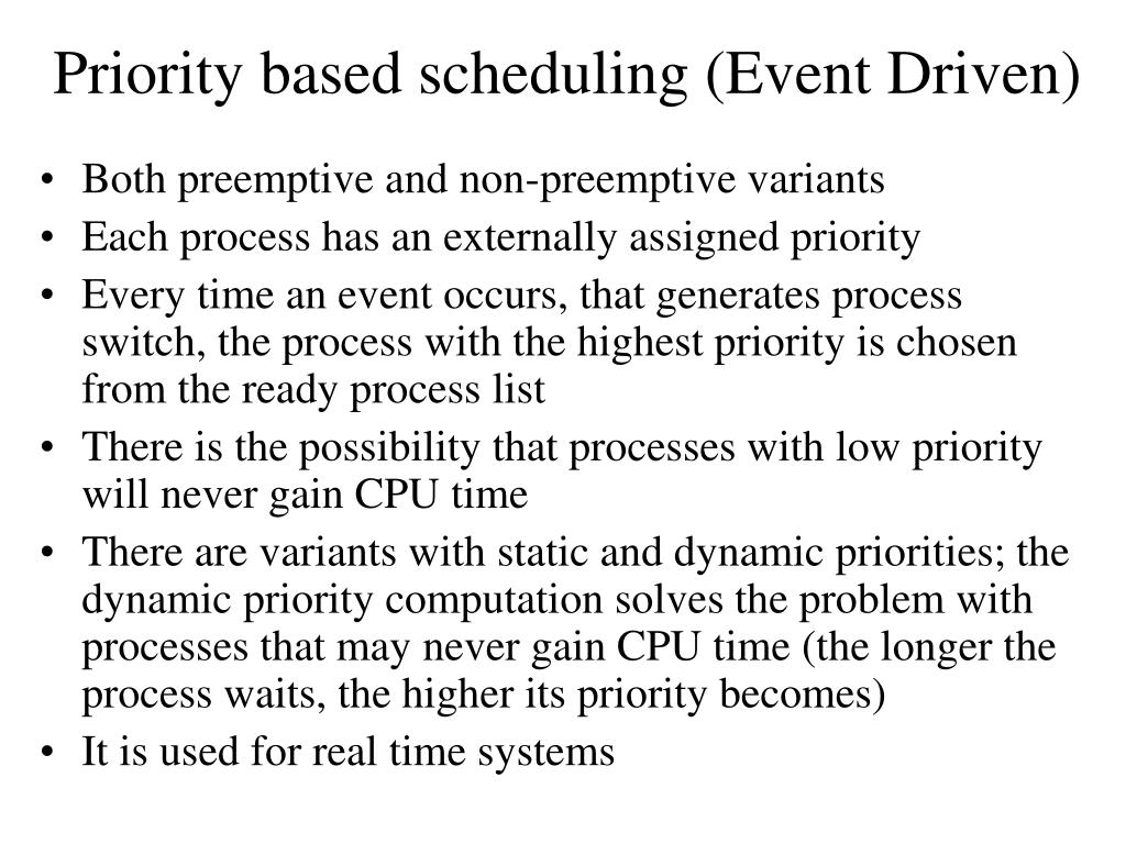 Priority based scheduling (Event Driven)