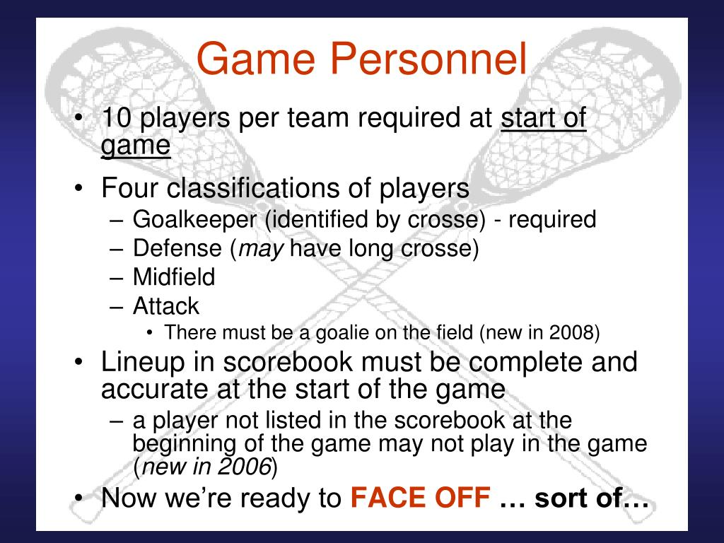 Game Personnel