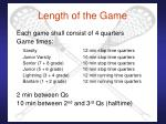 length of the game