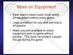 more on equipment