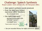 challenge speech synthesis project leaders lewis johnson isi shri narayanan imsc