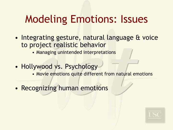 Modeling Emotions: Issues