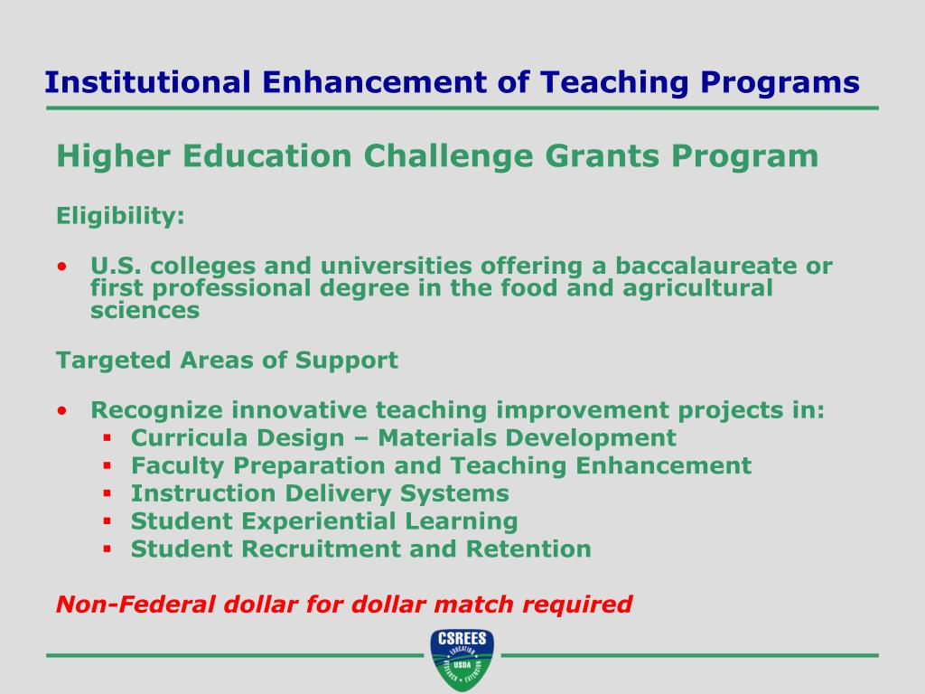 Institutional Enhancement of Teaching Programs
