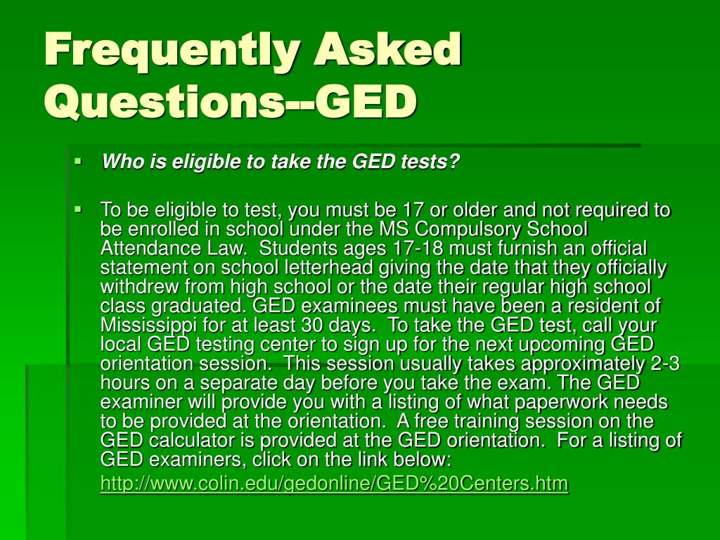 Frequently Asked Questions--GED