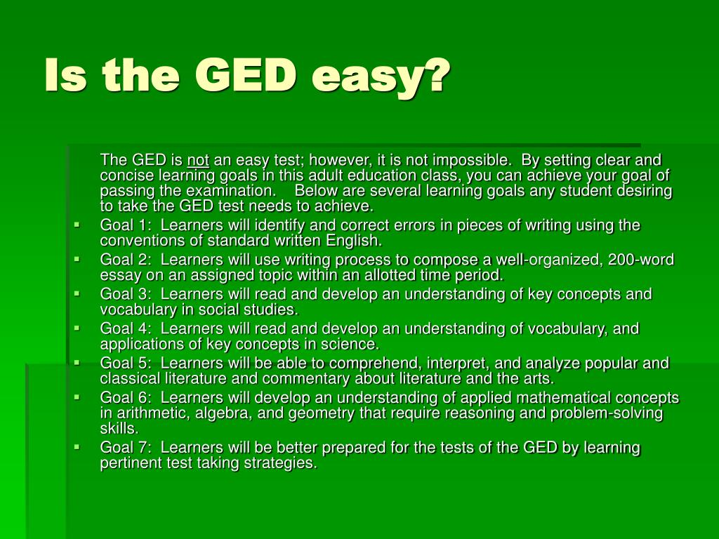 Is the GED easy?