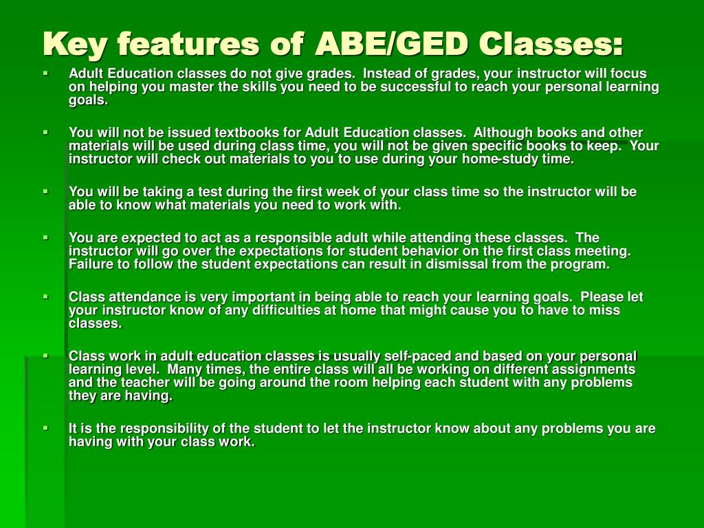 Key features of ABE/GED Classes:
