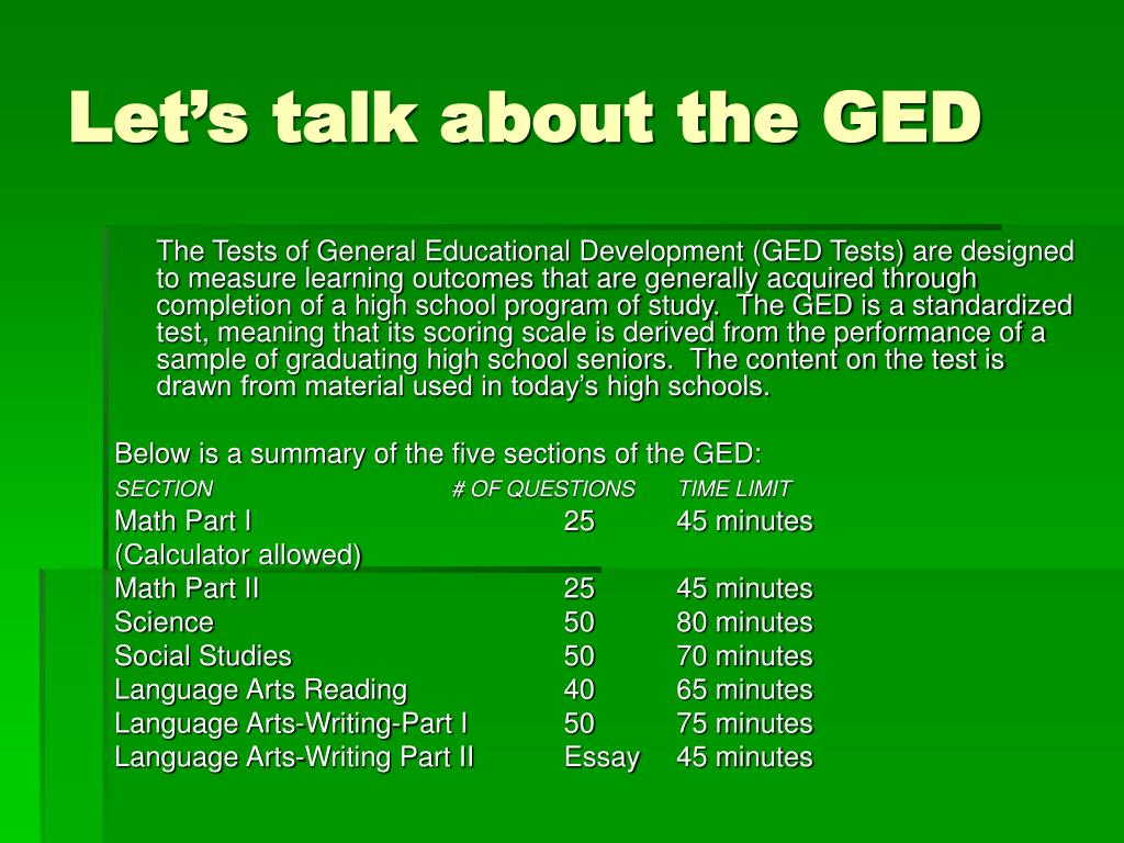Let's talk about the GED