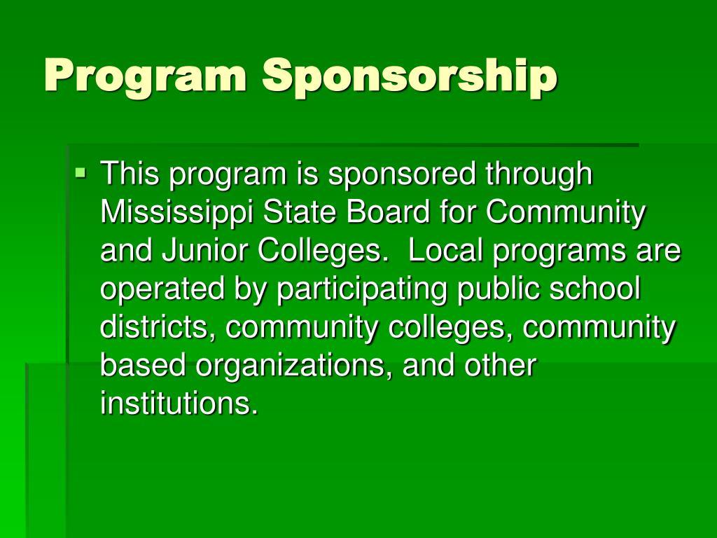 Program Sponsorship