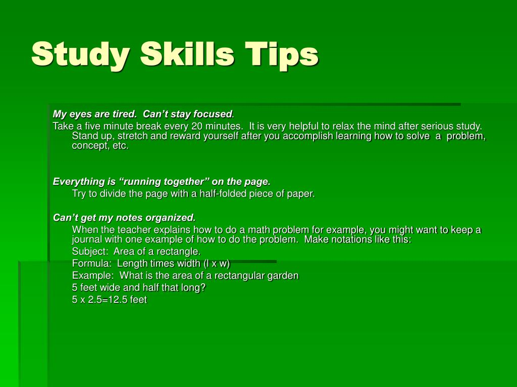 Study Skills Tips