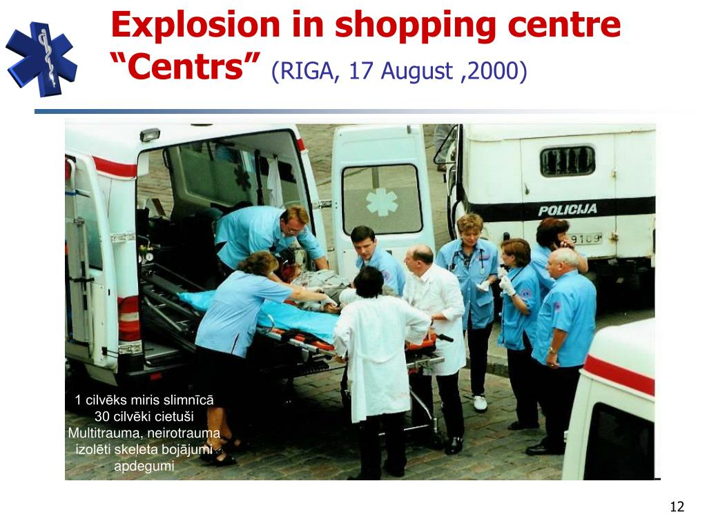 "Explosion in shopping centre ""Centrs"""
