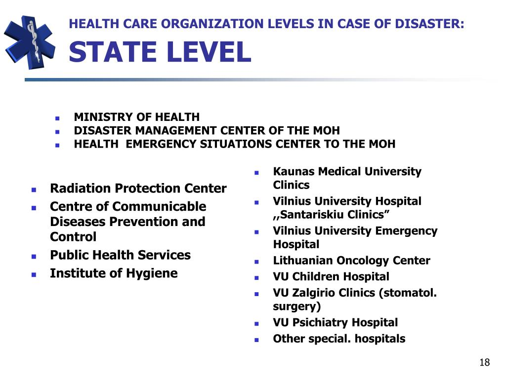 HEALTH CARE ORGANIZATION LEVELS IN CASE OF DISASTER: